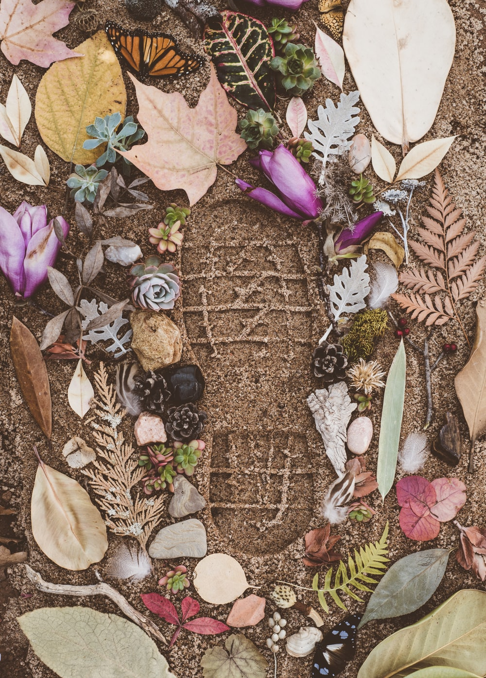 assorted flowers and leaves on sand with shoe mark