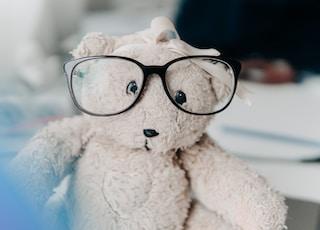 white bear plush toy wearing eyeglasses