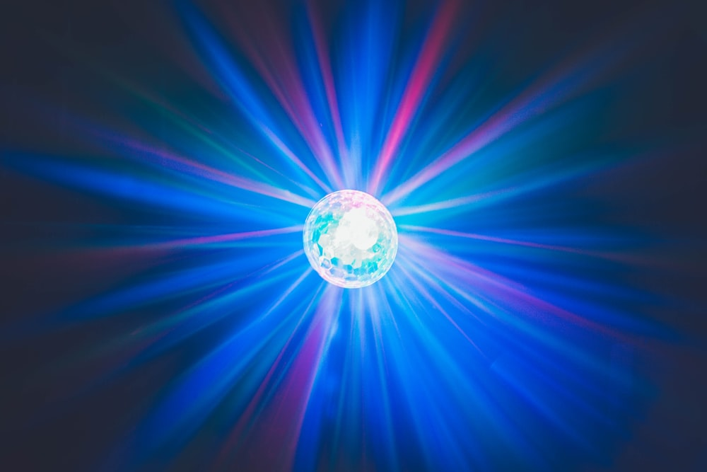 blue, red, and purple disco light