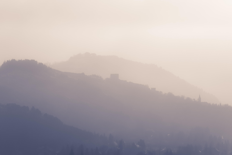 fog covered mountain range