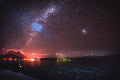 landscape photo of body of water with milkyway sky bora bora teams background