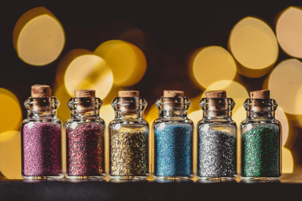 six assorted glitter in bottle