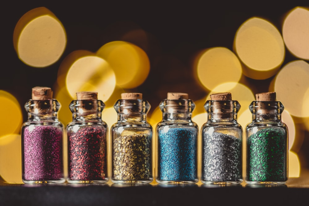six assorted glitter in bottle