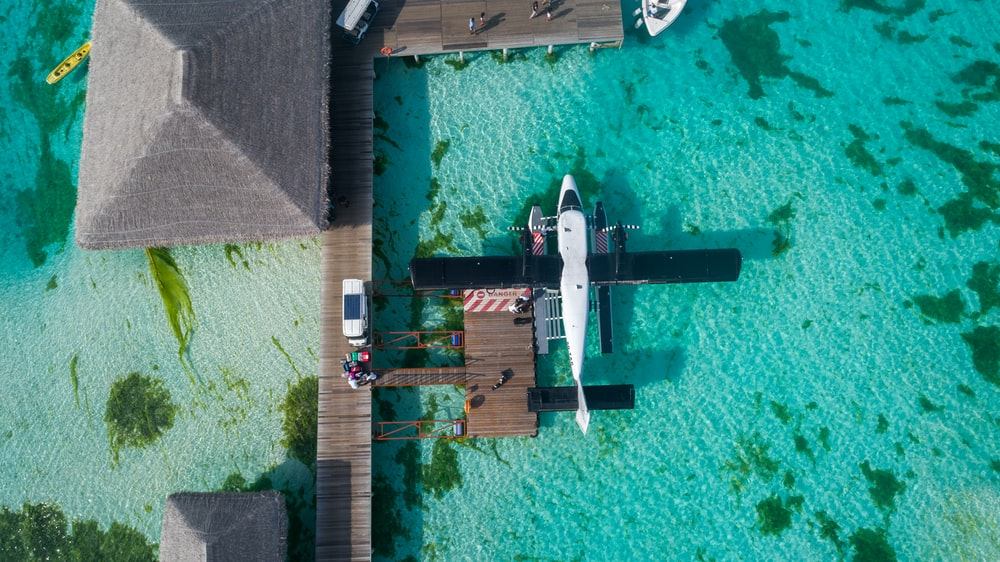 white and black airplane parked on dock top-view photography