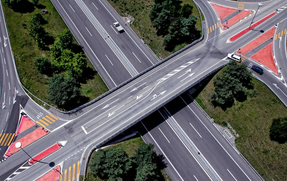 aerial photography of concrete cross road