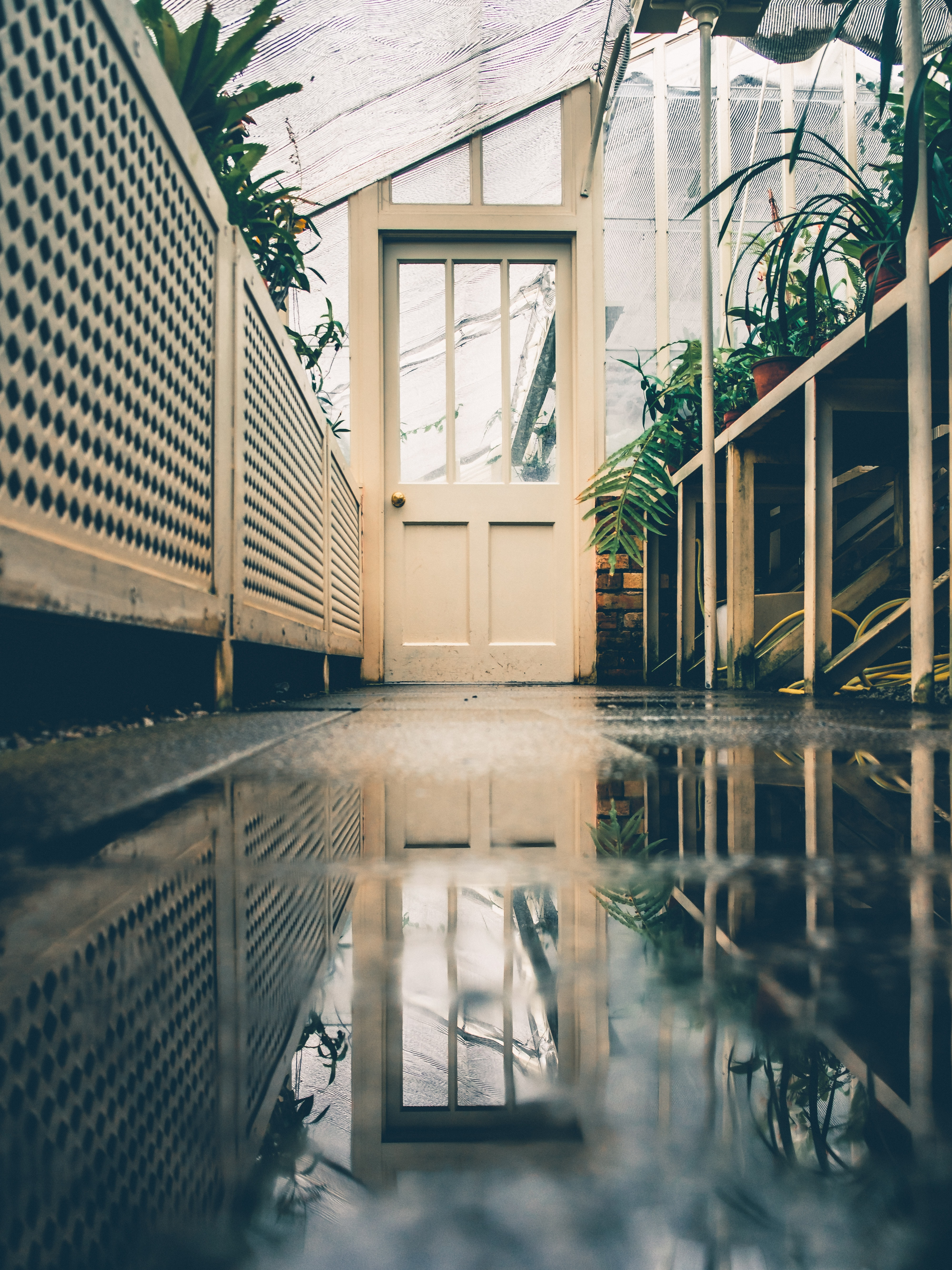 white door reflection on water