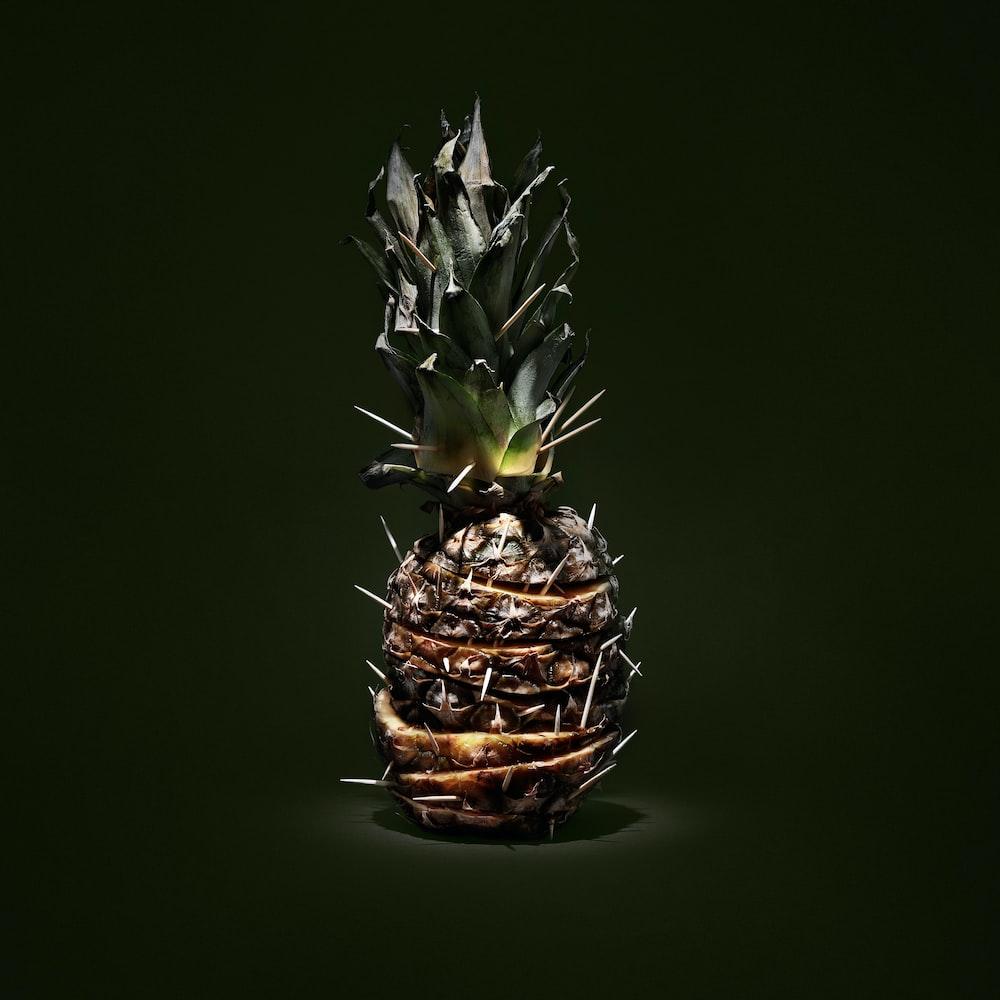 macro shot of pineapple fruit