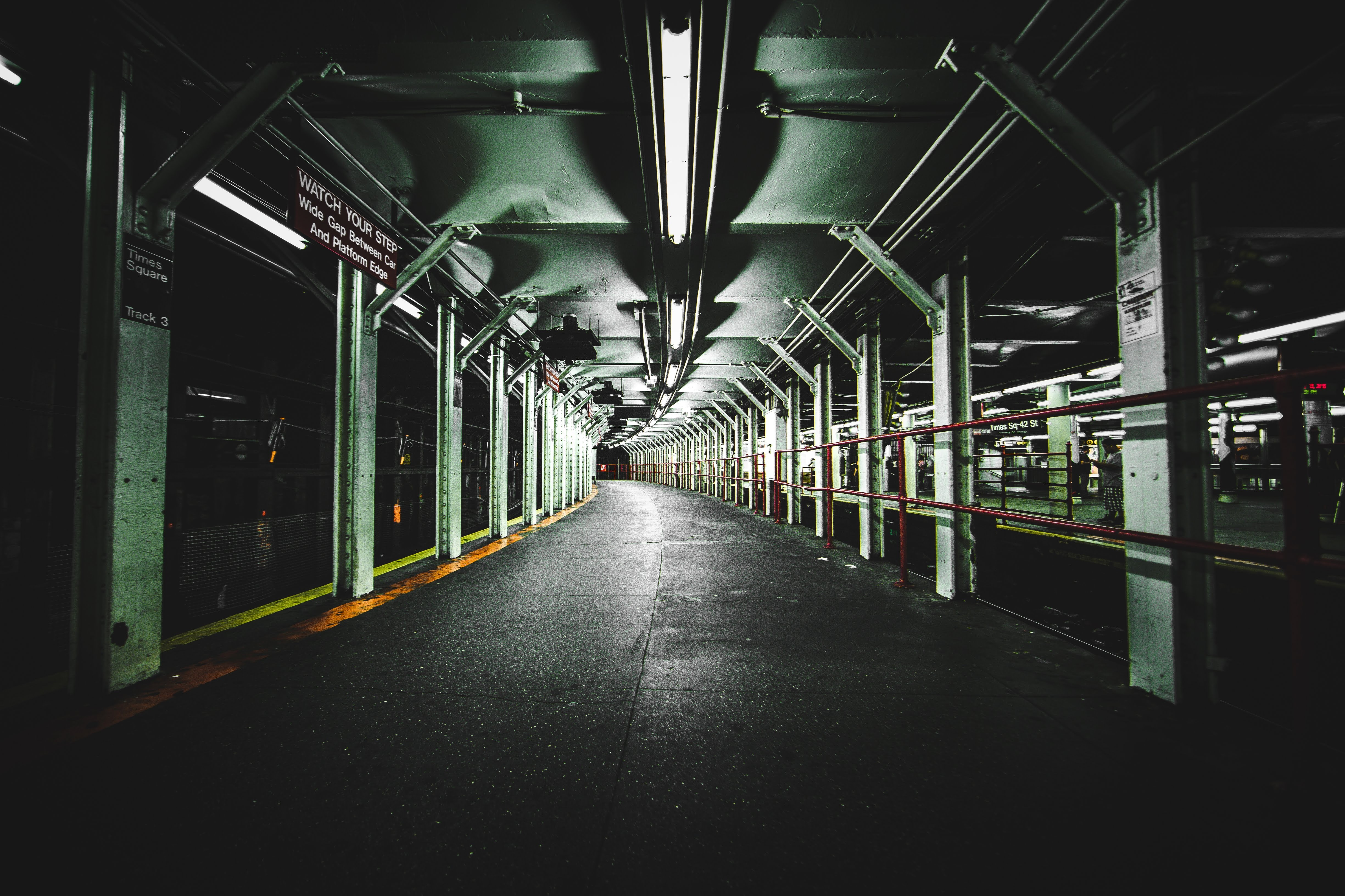 lighted train station pathway