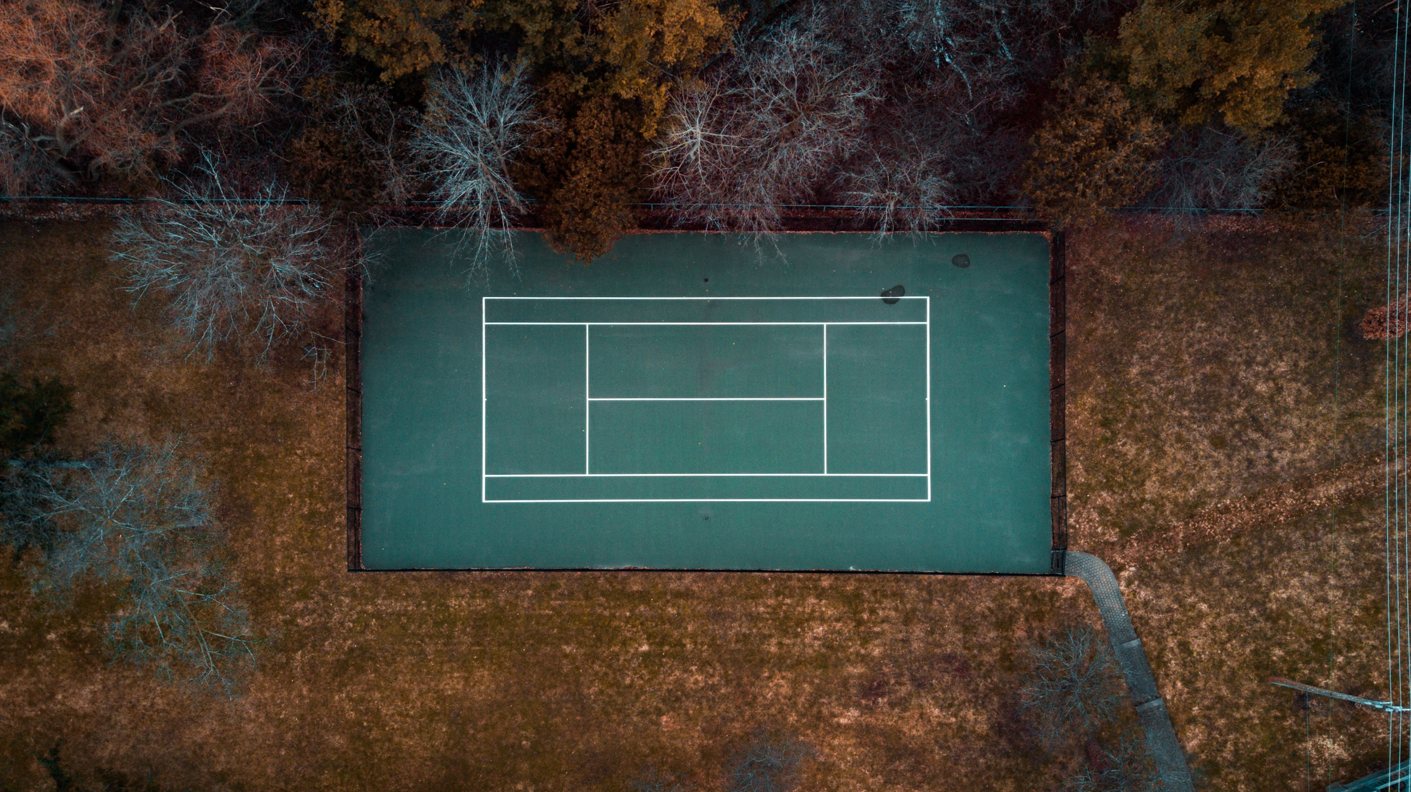 flat-lay photography of tennis court