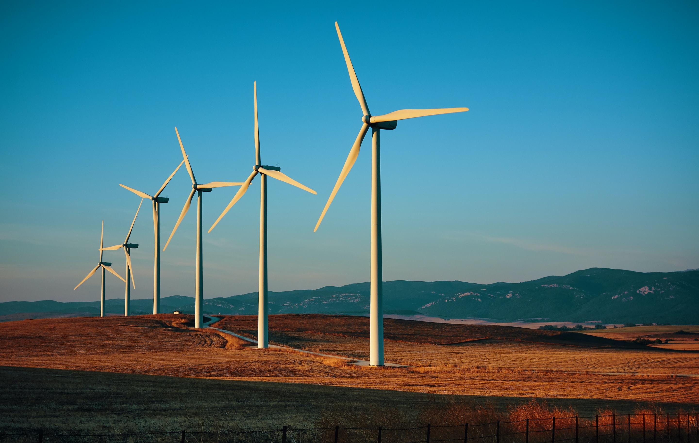 windmills on field