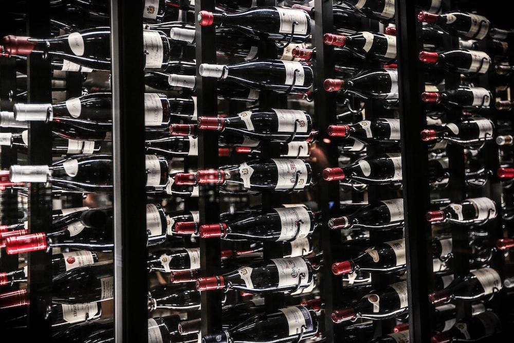 wine bottle on shelf lot