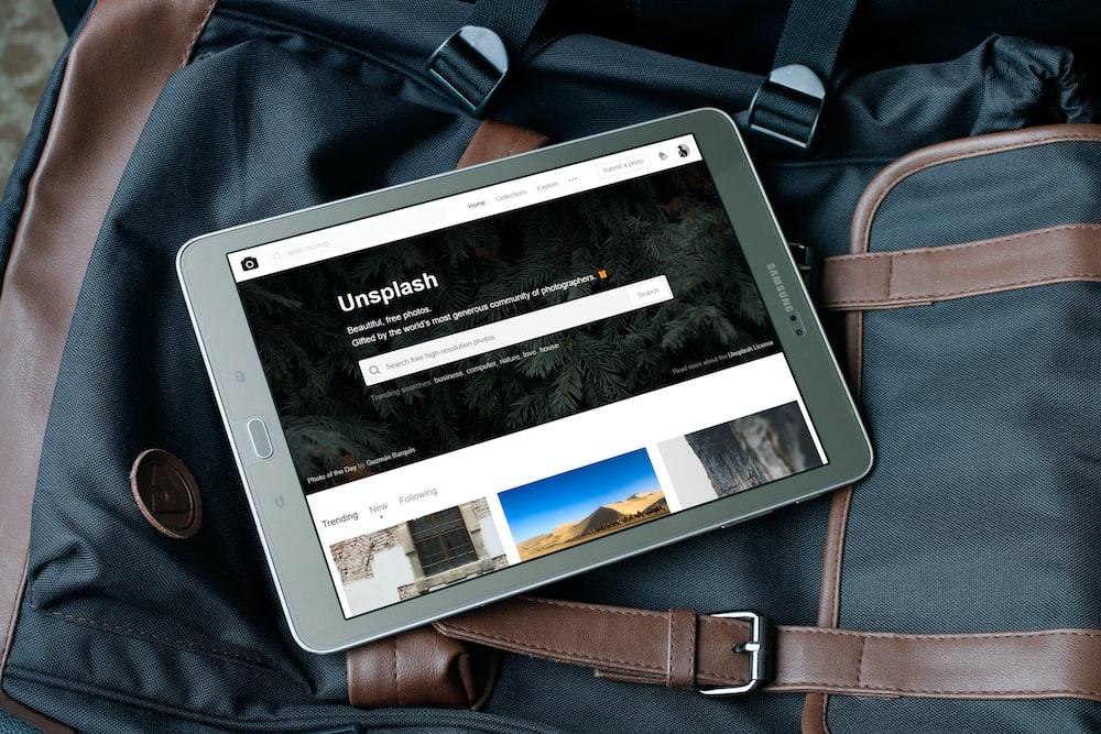 gray Samsung tablet turned on
