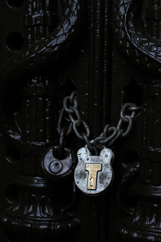 door with gray chain lock