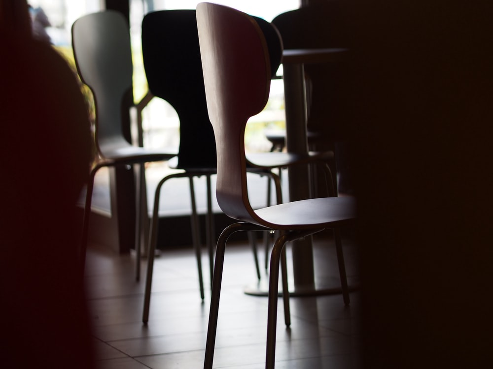 gray chair beside table