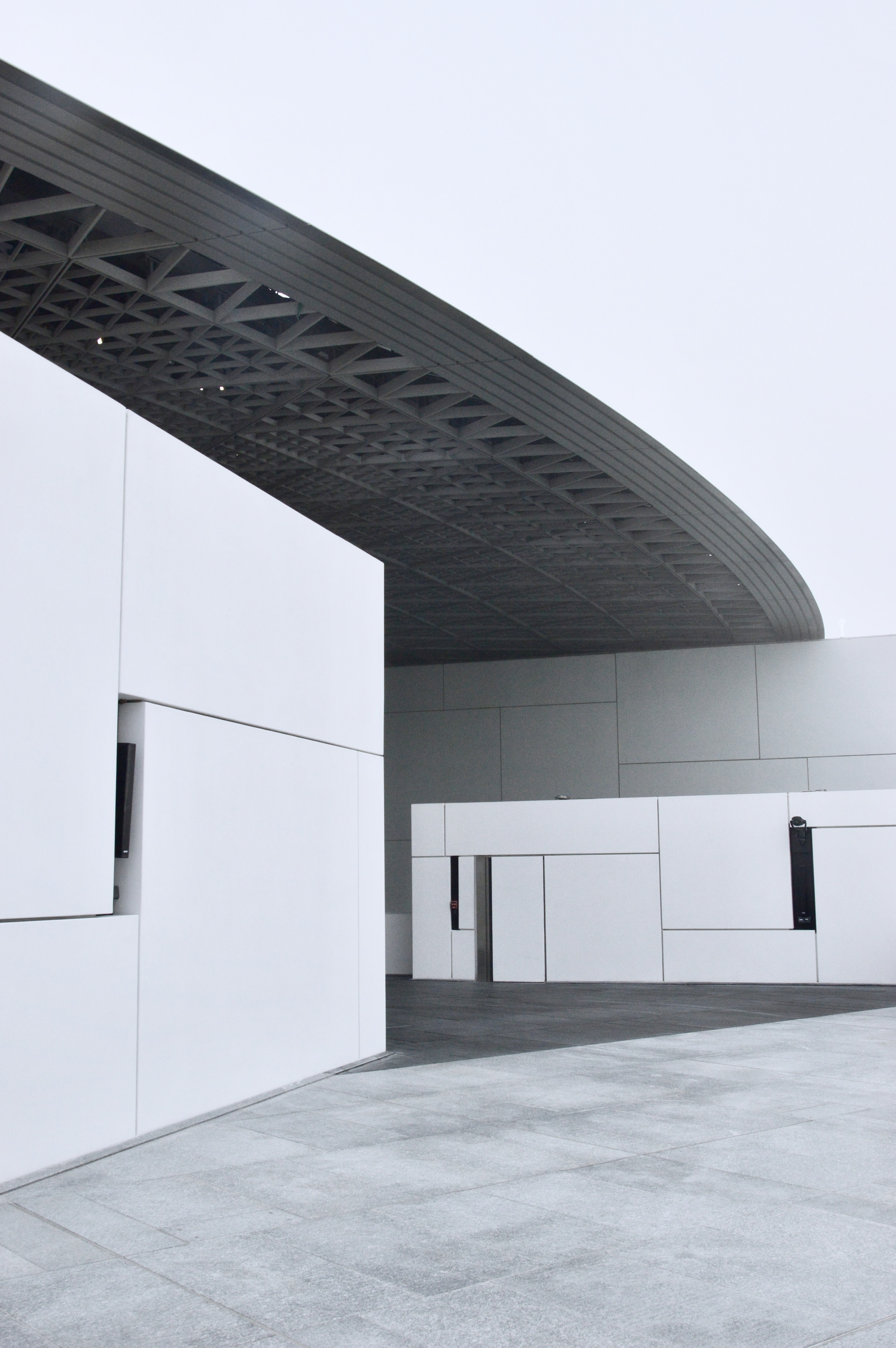 white and black architectural building