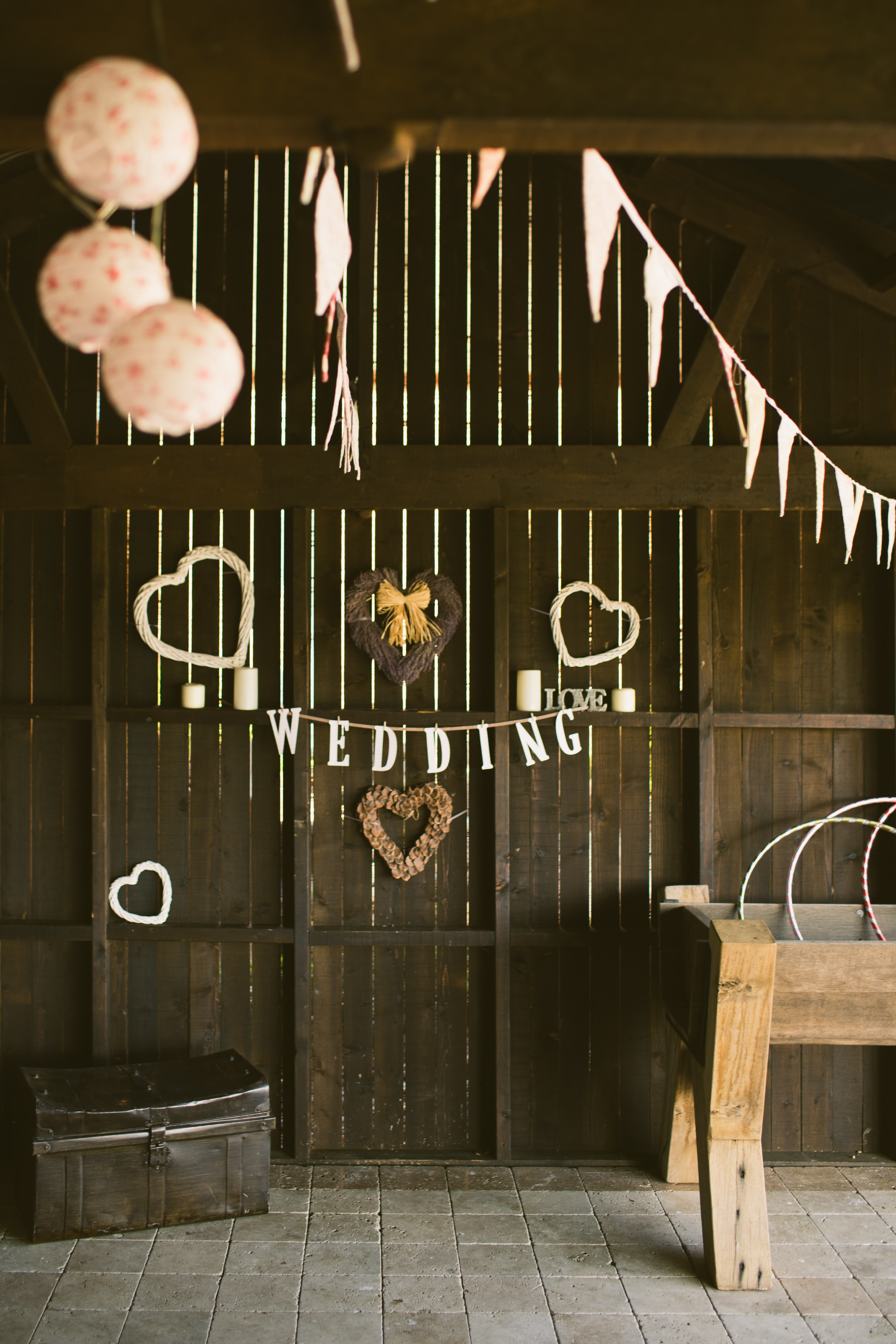 hanged white wedding buntings