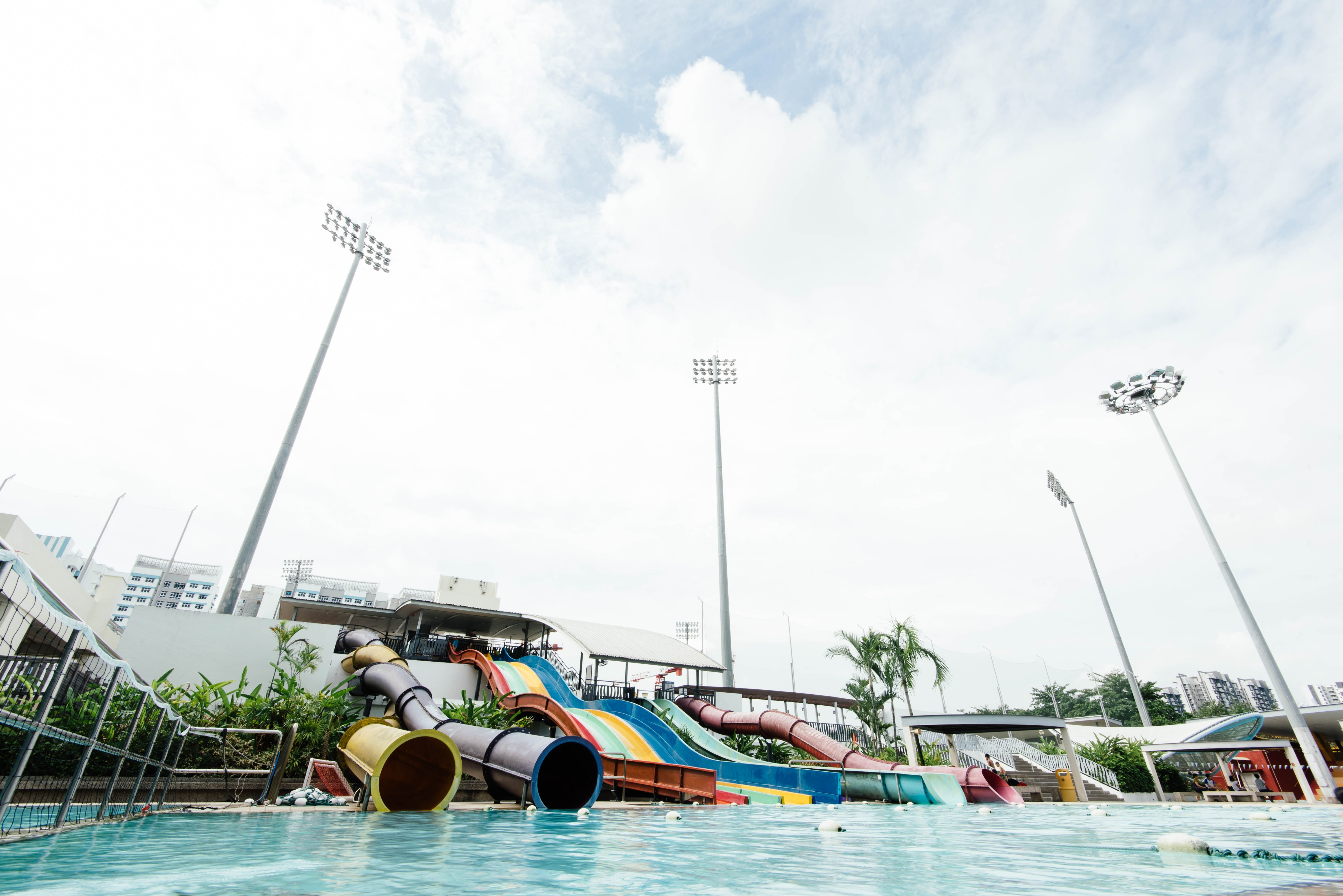 low angle photography of waterpark at daytime