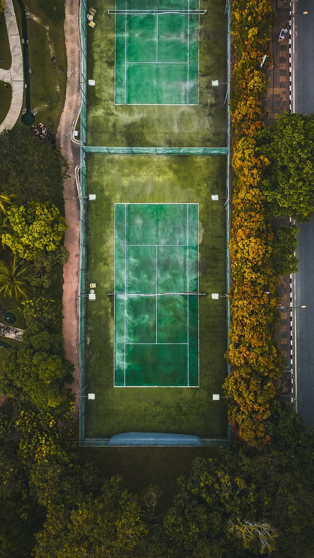 aerial view of sports court between trees