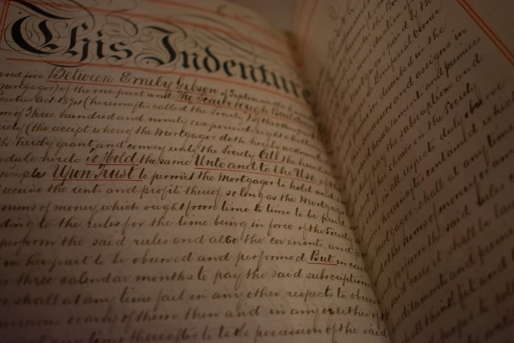Chris Indenture text on book