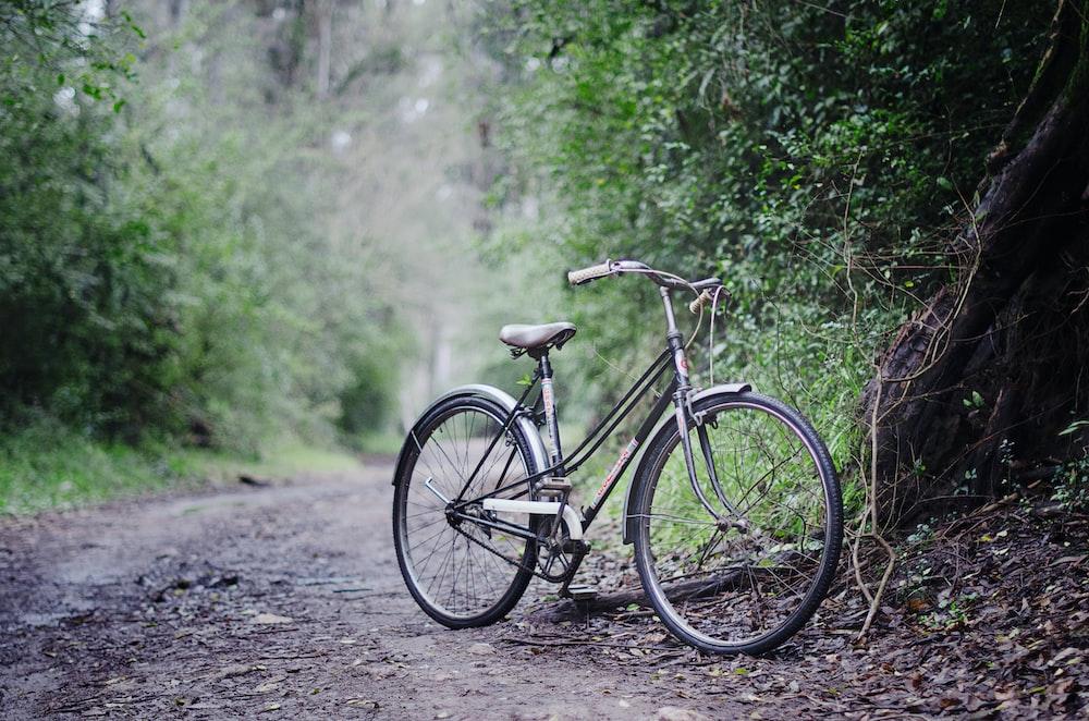 black cruiser bike on gray pathway