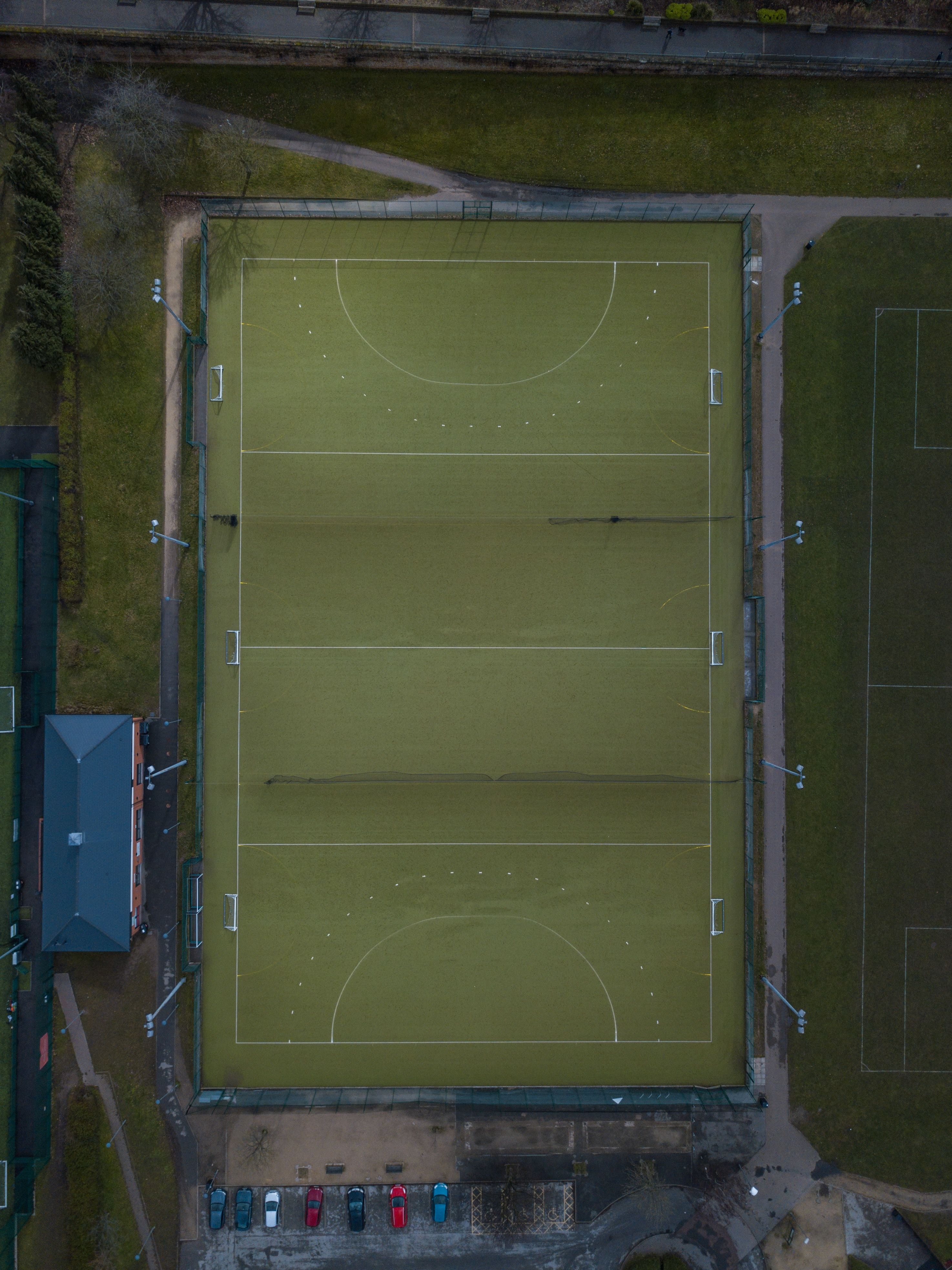 aerial photography of court