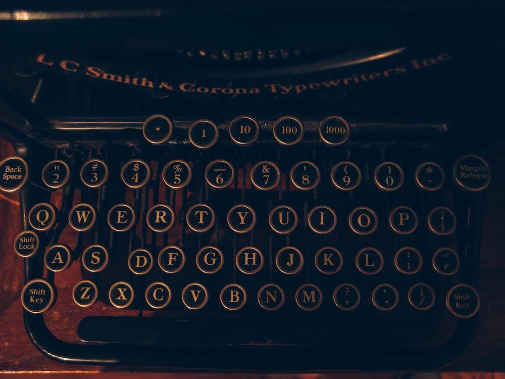 black and brown typewriter