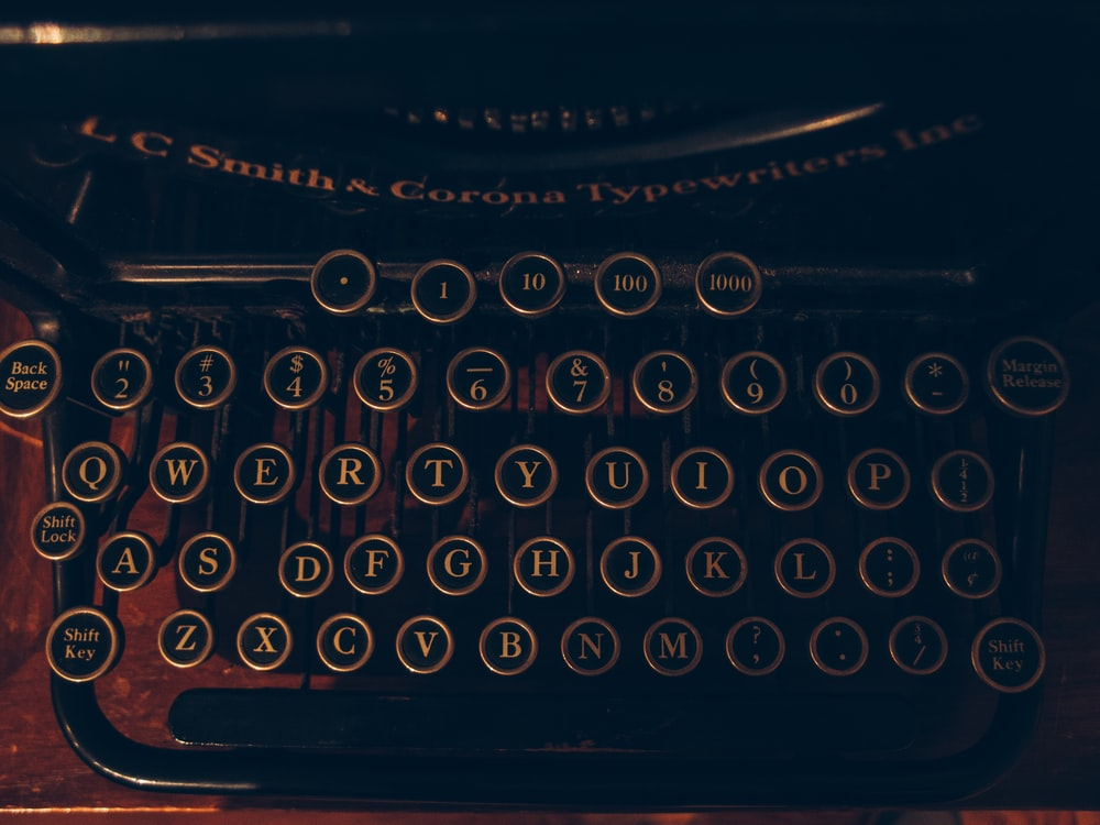 black and brown typewriter