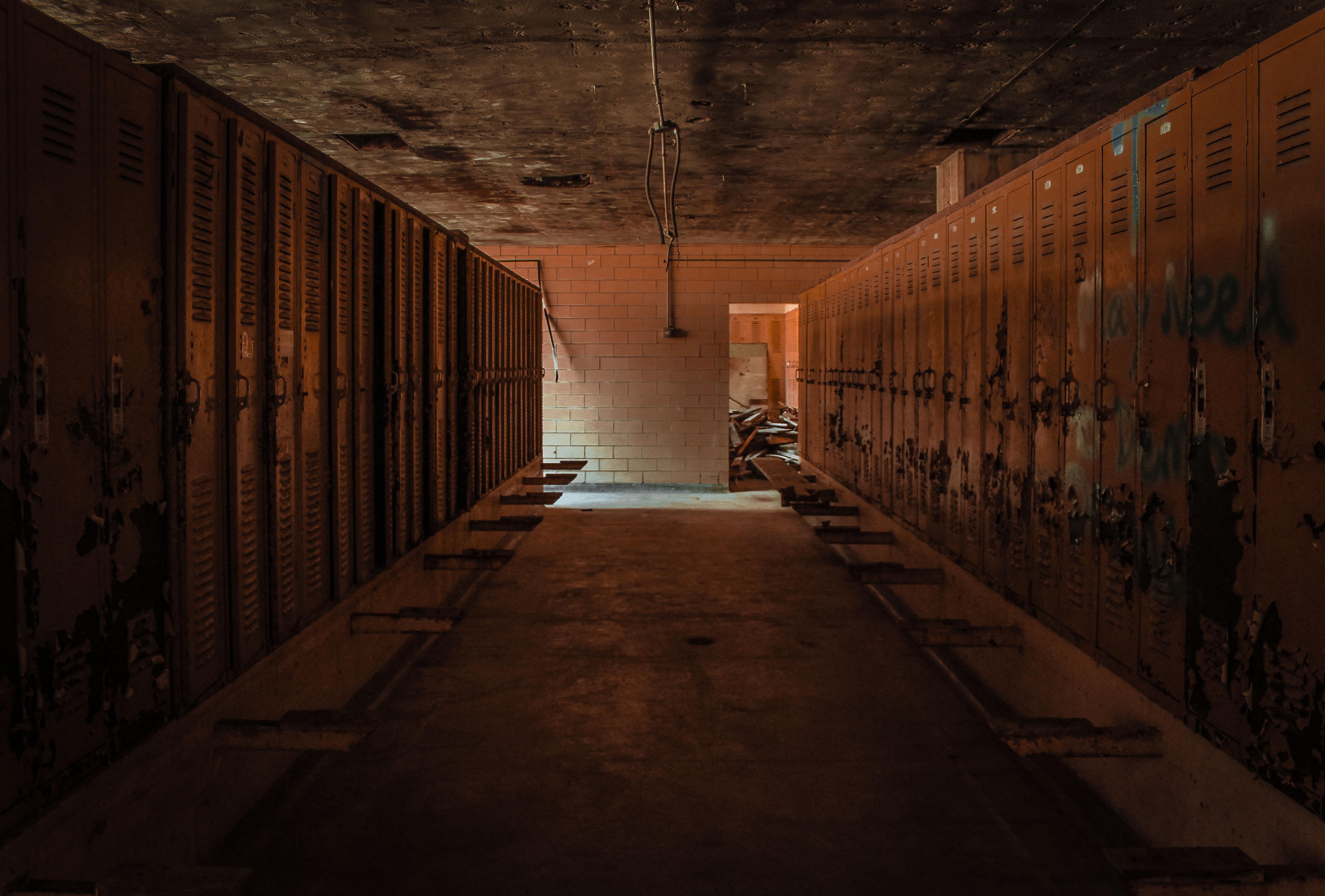 gray empty locker room