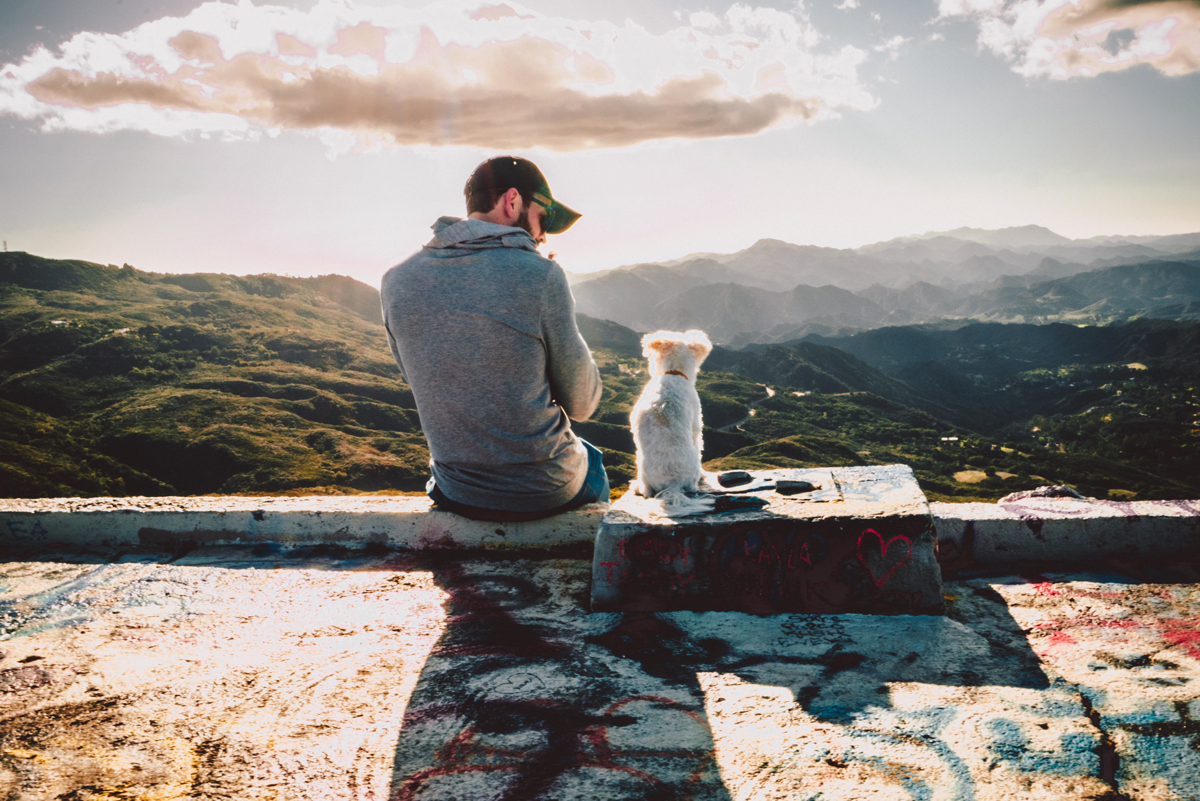 man sitting beside dog