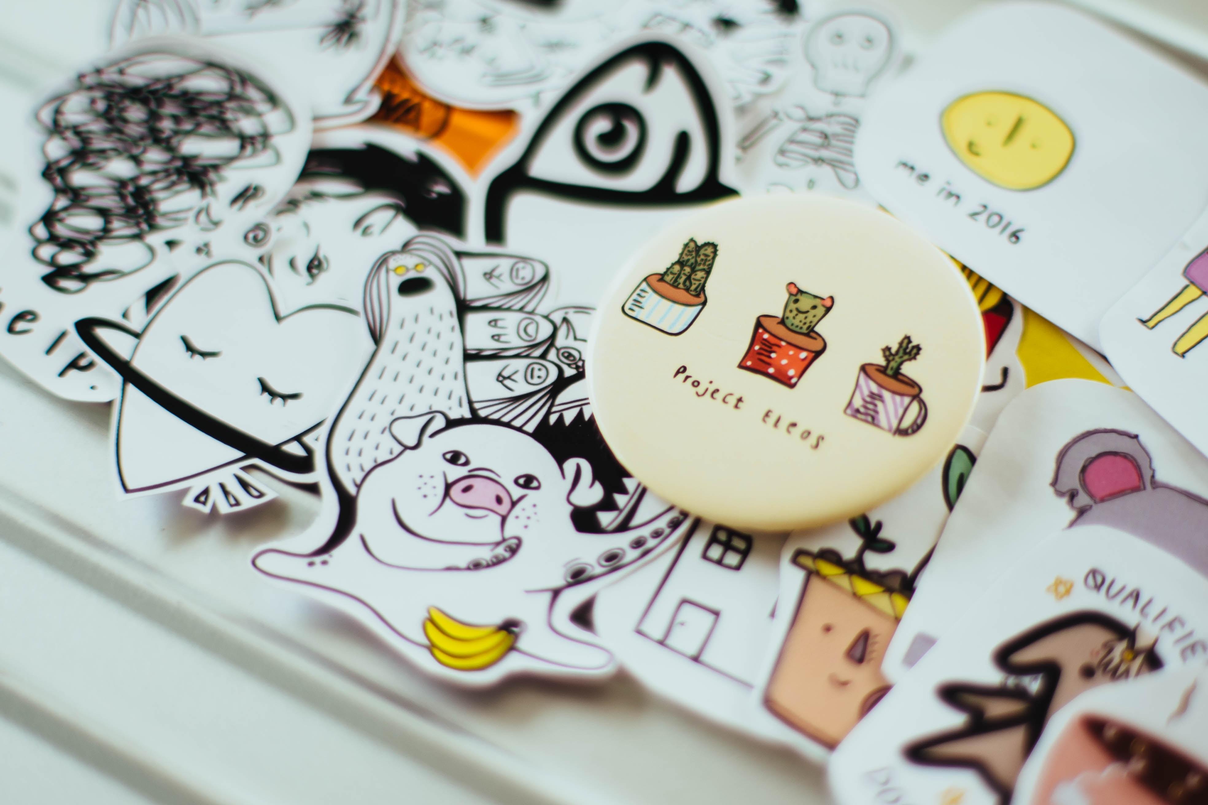 assorted doodle cloth pins
