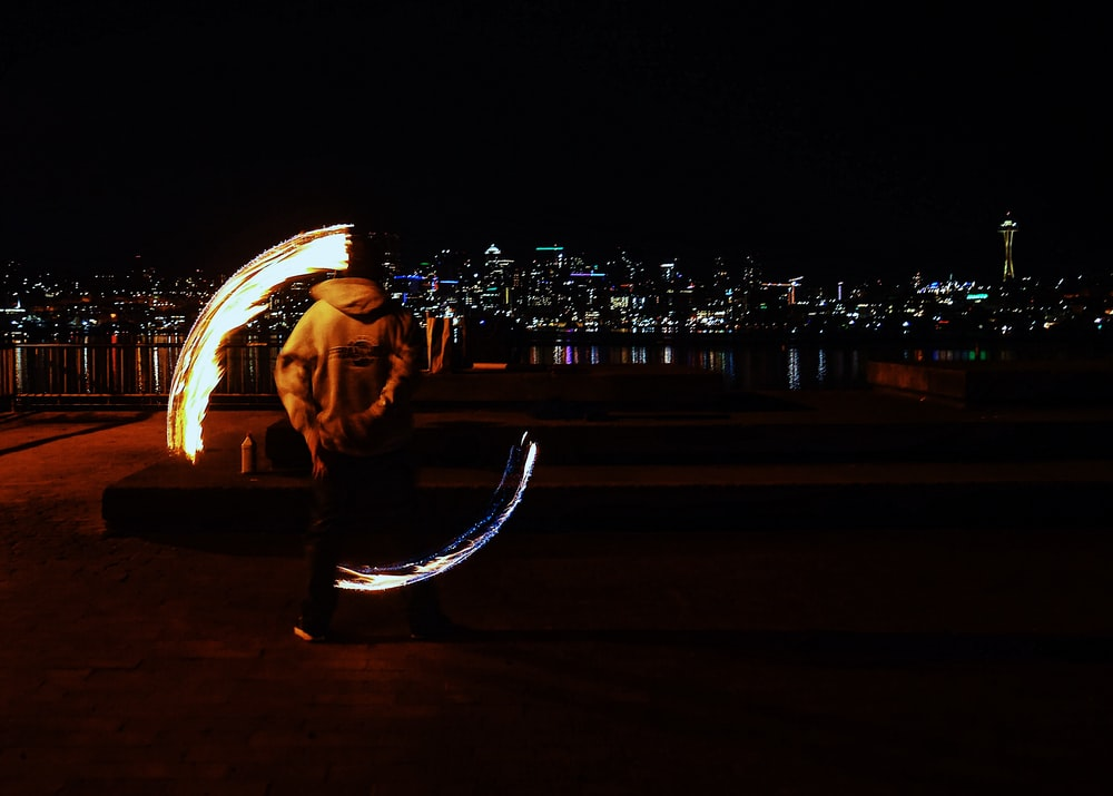 man performing fire dance