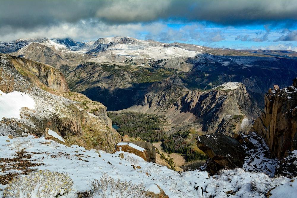 mountain range with snow cap under blue skies