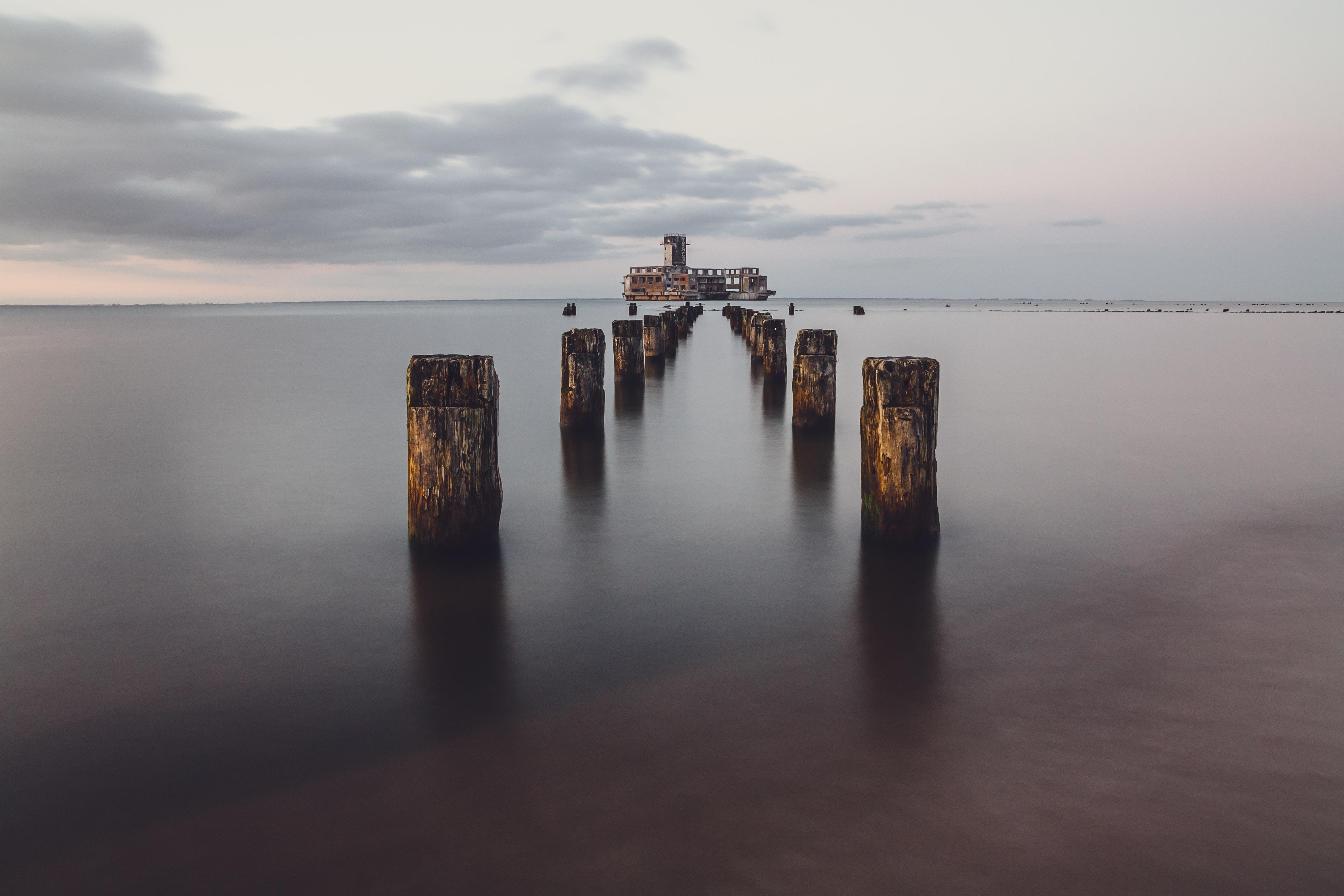 brown wooden dock pillar