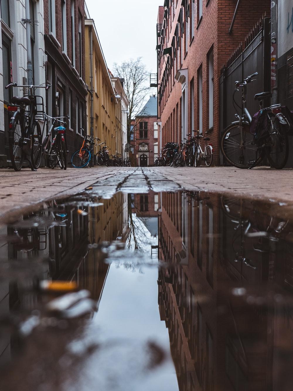 bicycle parking beside buildings