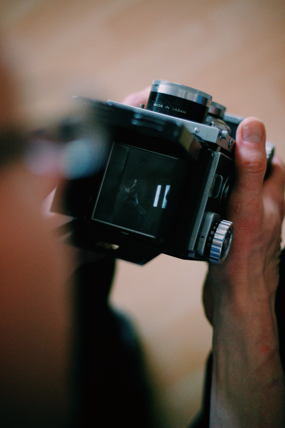close view of person holding camera