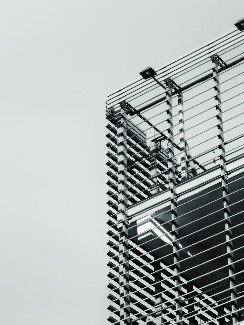 white and black steel frame