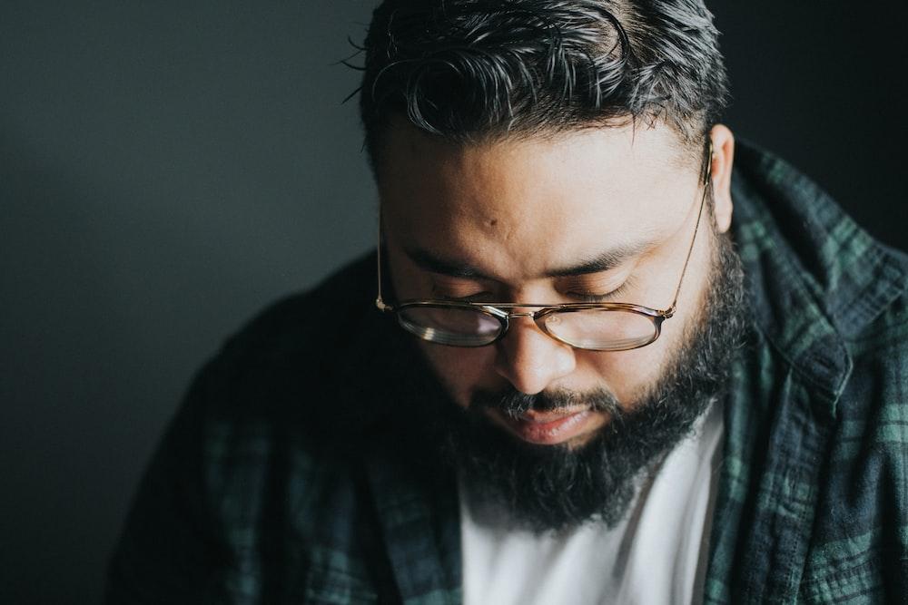 man wearing framed eyeglasses