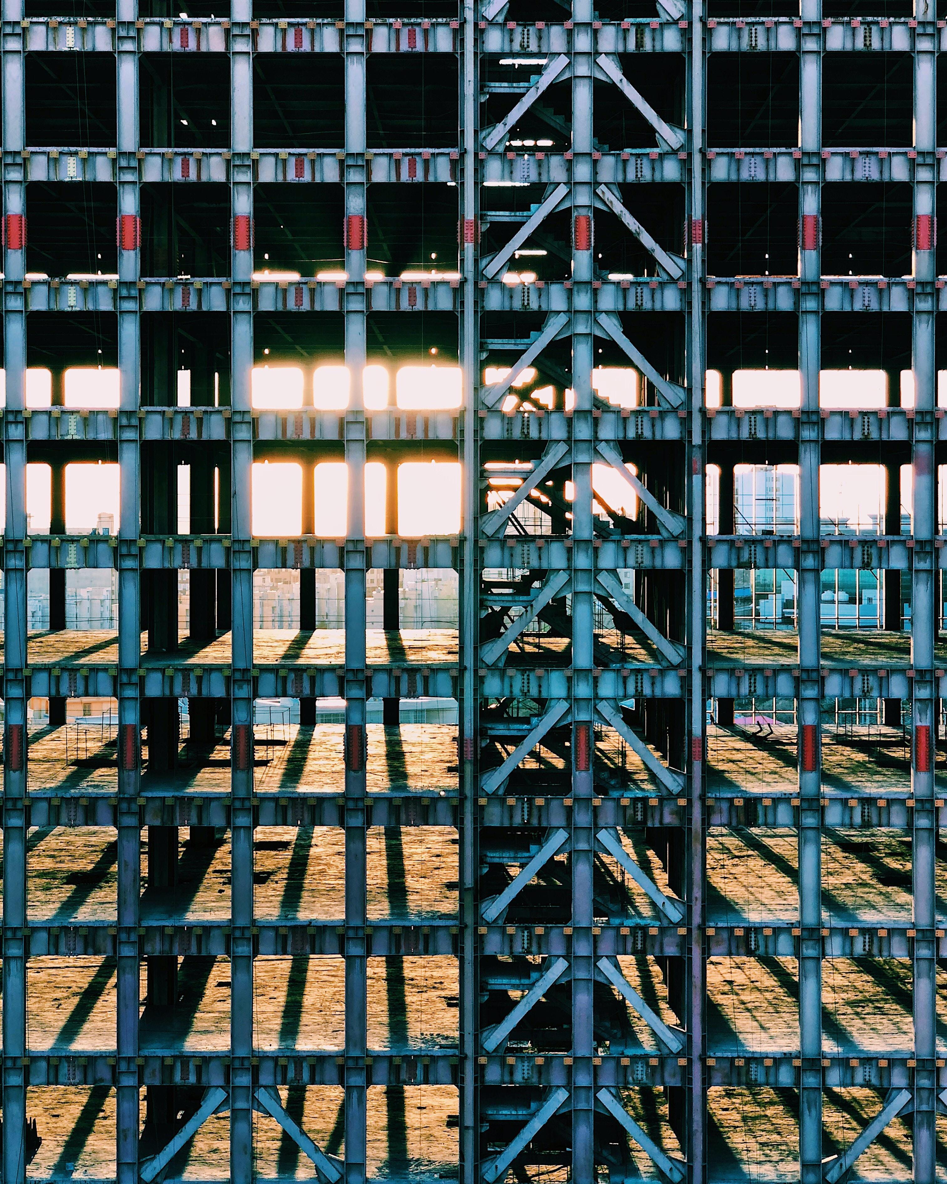 gray steel building frame