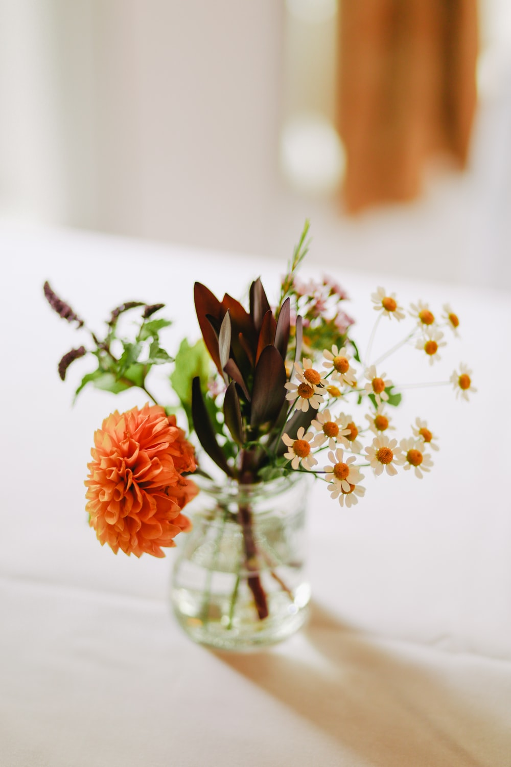 white, brown, and orange flowers on clear glass vase