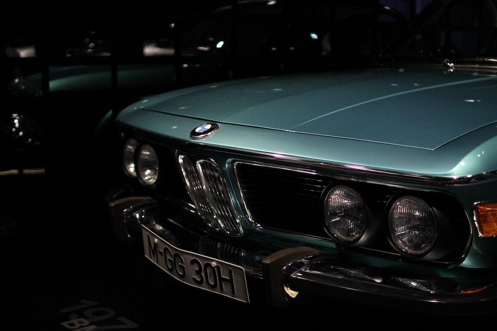 classic teal BMW car