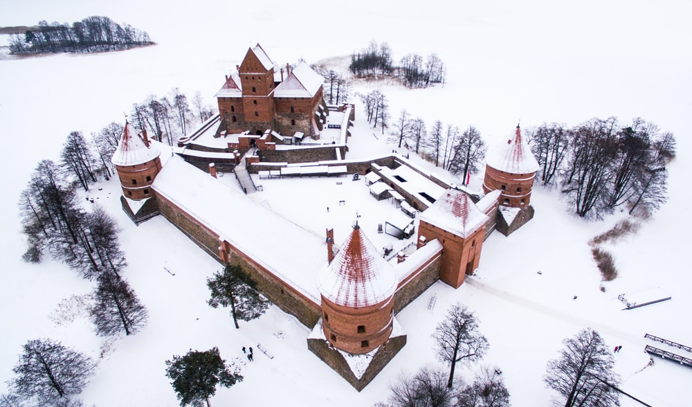 aerial view of brown castle