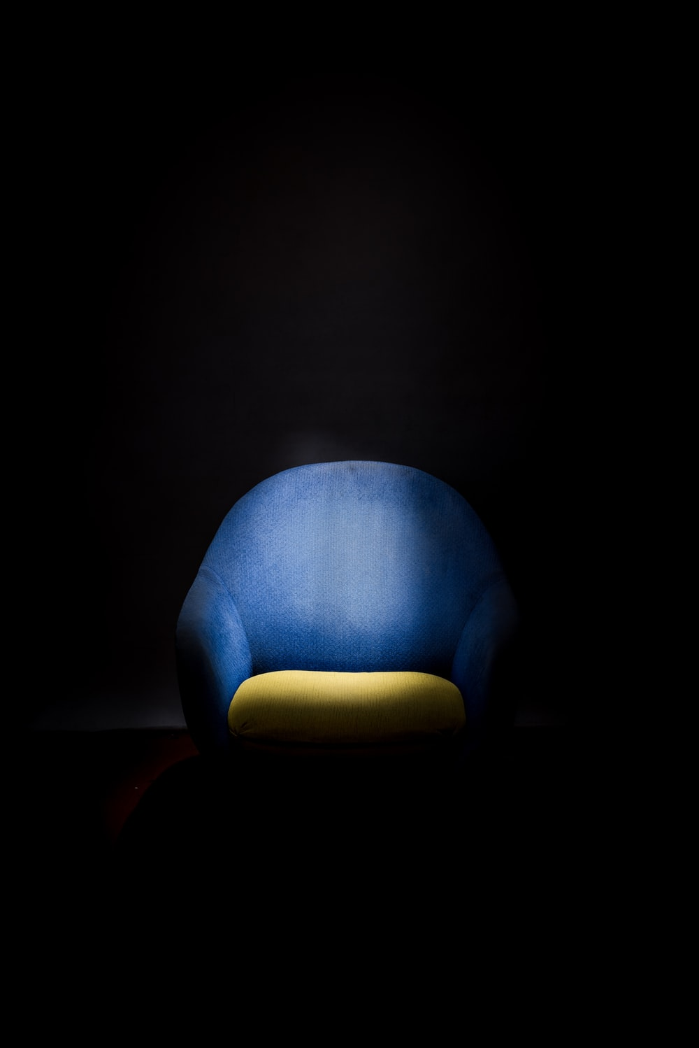 blue and yellow armchair