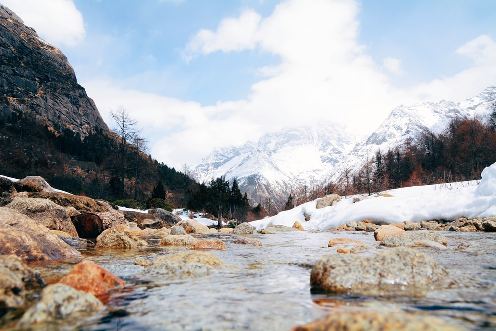 river in between snow-covered lands