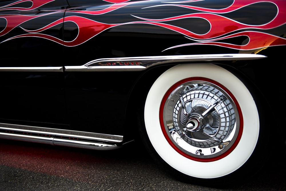 black and red fire-print car