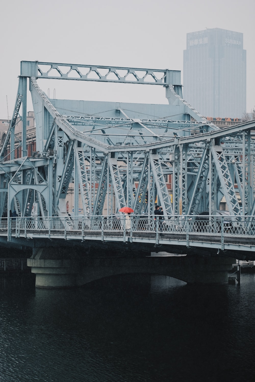 gray steel bridge under gray sky