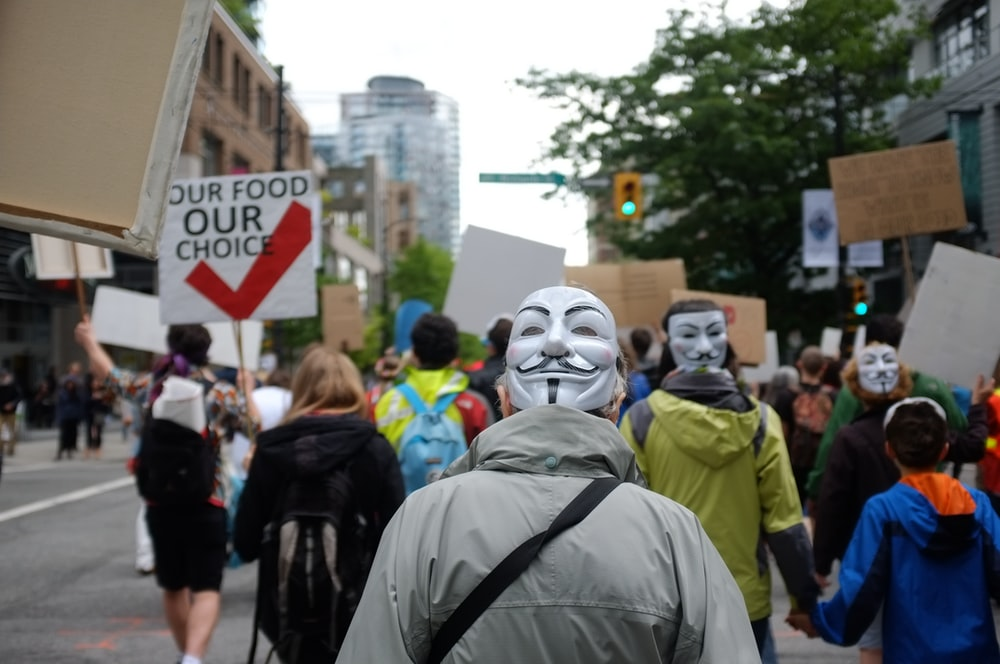 photo of man wearing guy's fawkes mask