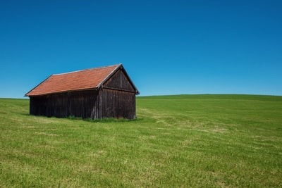 brown wooden house in middle of grass field under blue sky farmhouse zoom background
