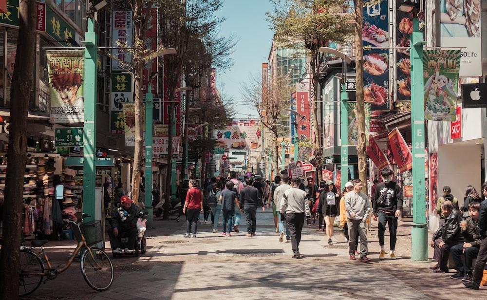 people walking at street