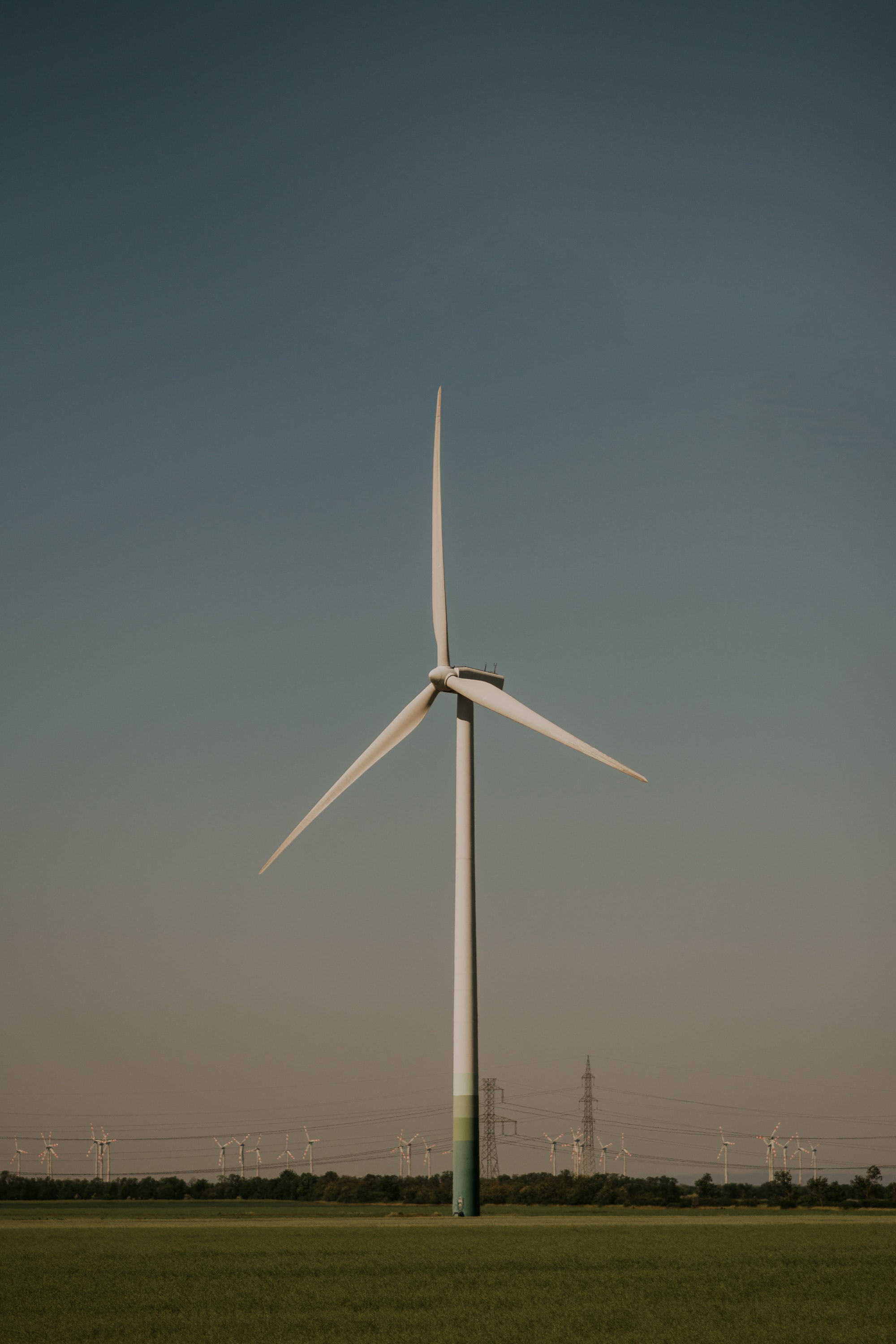 photo of white wind turbine