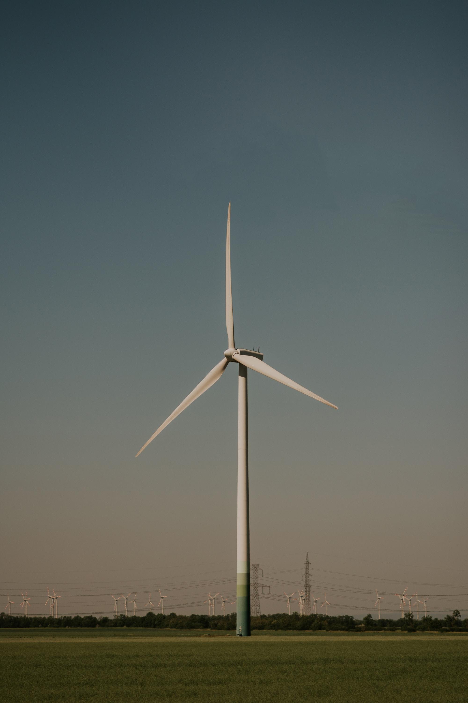 photo of white wind turbine